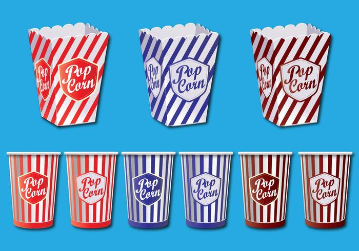 Popcorn box vektor uppsättning
