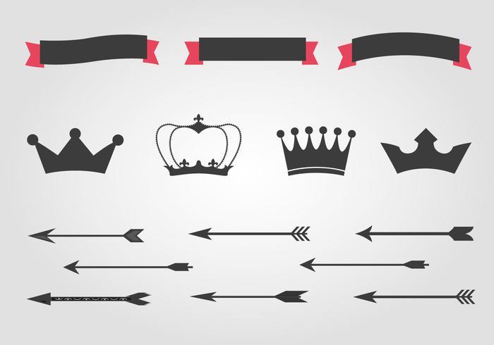 Kostenlose Kronen und Pfeile Vektor