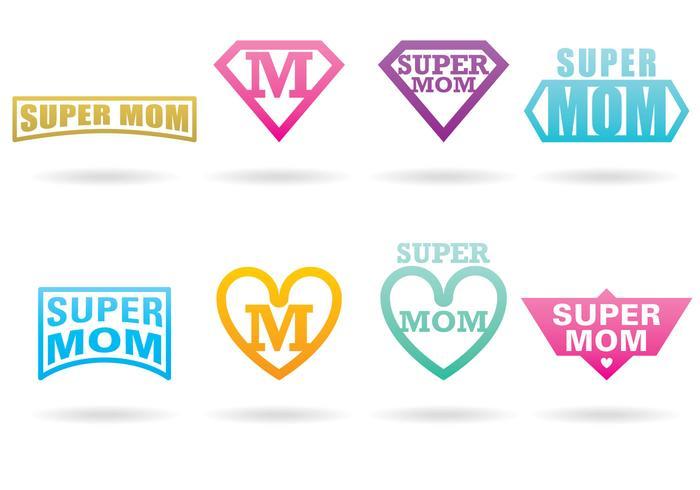 Super mamma logotyper vektor