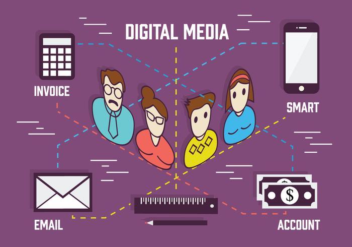 Gratis digital marknadsföring bakgrund med olika ikon samling vektor