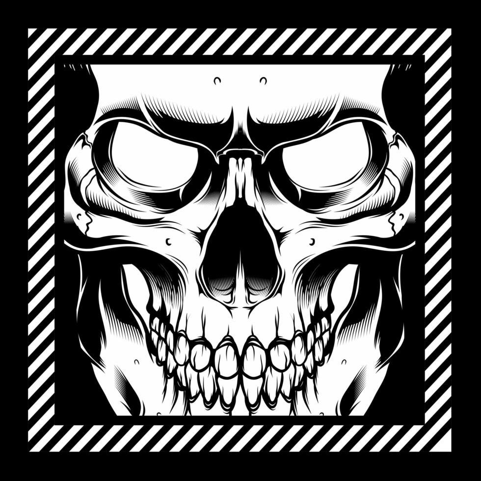 skelett ansikte hand ritning vektor
