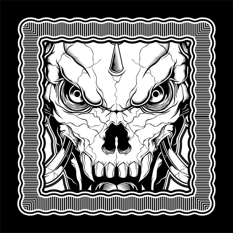 svartvit demonskalle i ram vektor