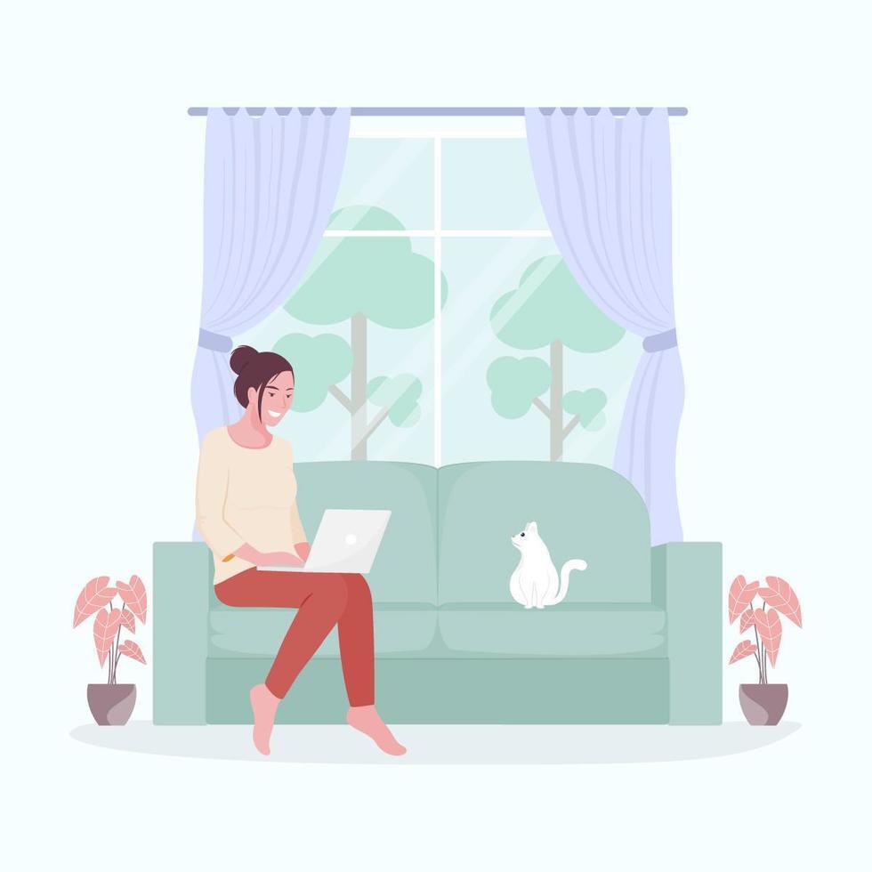 Frau auf der Couch, die fern arbeitet vektor