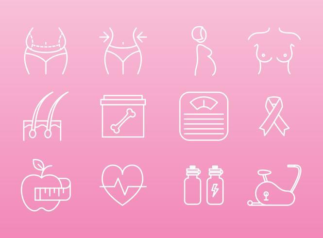 Frauen Gesundheit Und Schönheit Icons vektor
