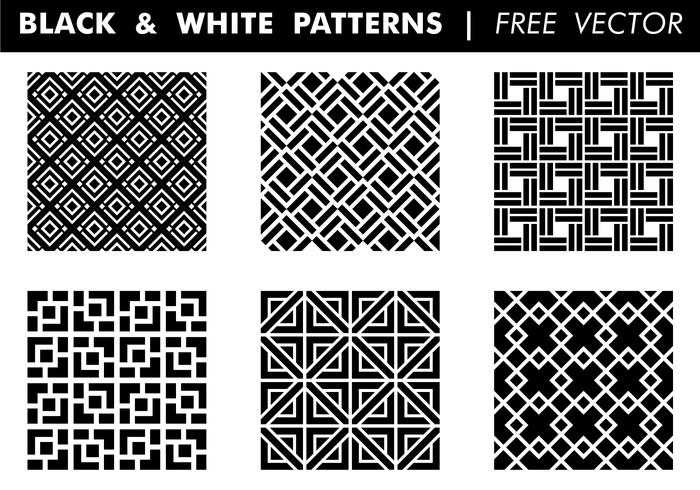 Black & White Patterns kostenloser Vektor
