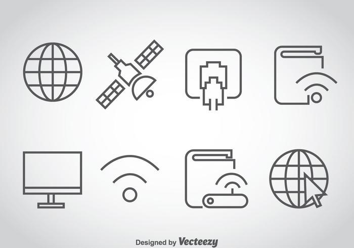 Internet Outline Ikoner Vector