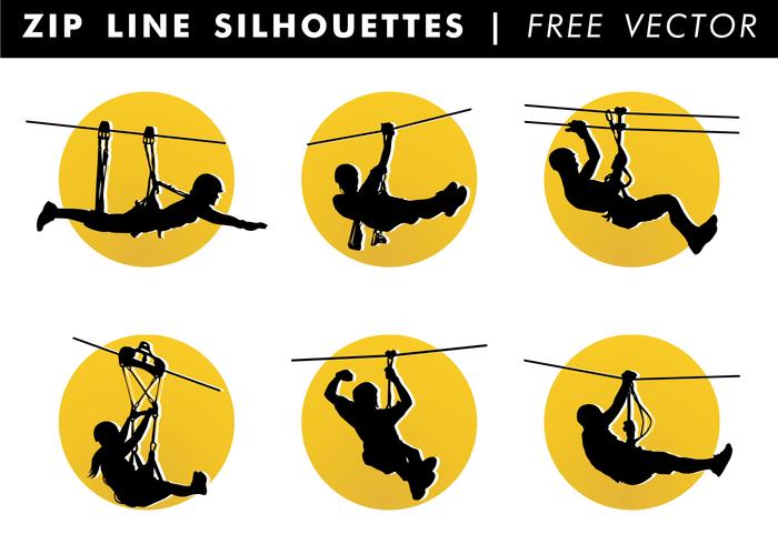 Zip Line Silhouetten Free Vector