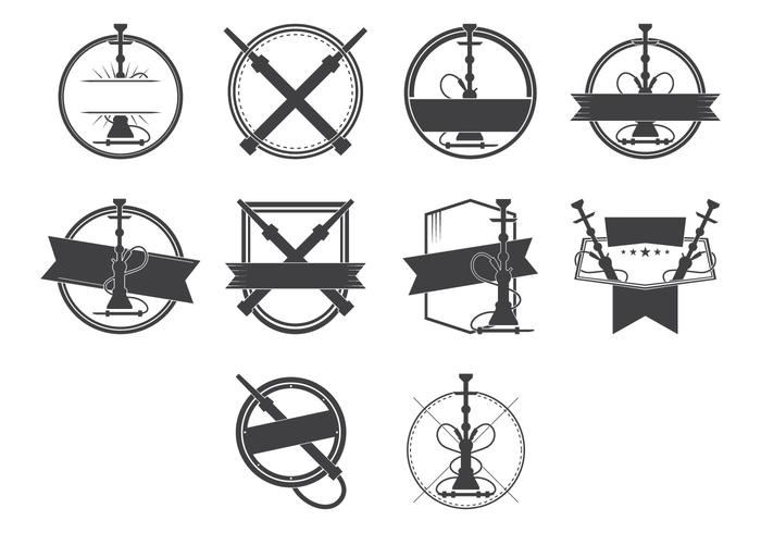 Vintage Nargile und Hookah Badge Logo Vektor
