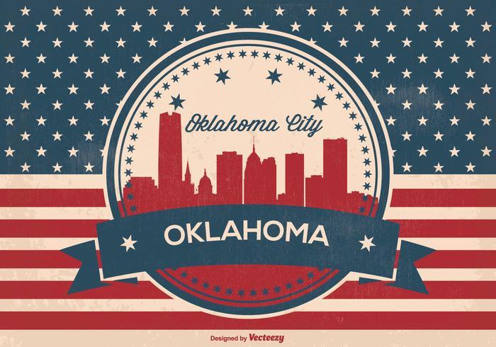 Oklahoma stadt retro skyline illustration vektor