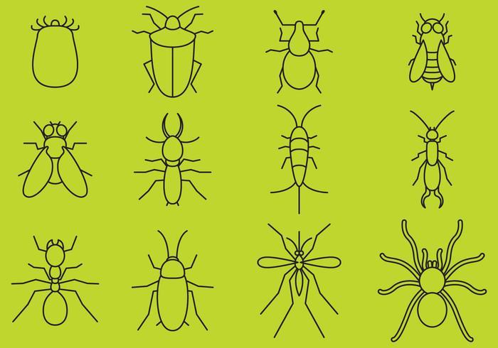 Bugs Line Icons vektor