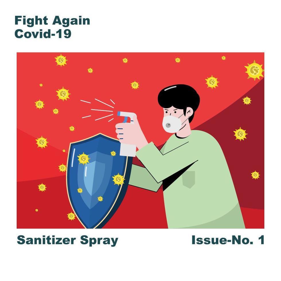 maskierter Mann mit Desinfektionsspray und Schild vektor
