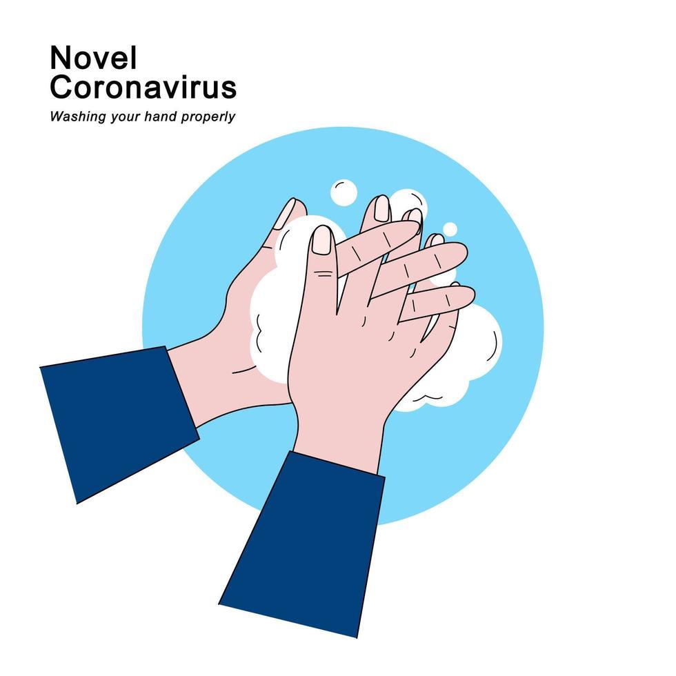 zwei Hände mit Seife über blauem Kreis waschen vektor