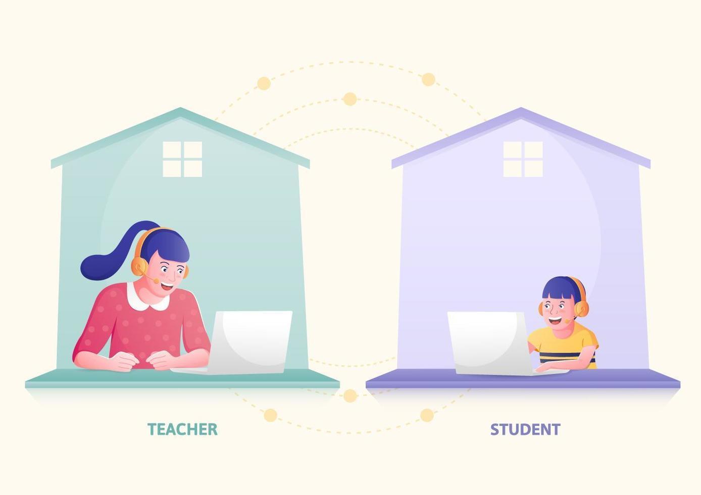 undervisning och fjärrlärande hemifrån vektor