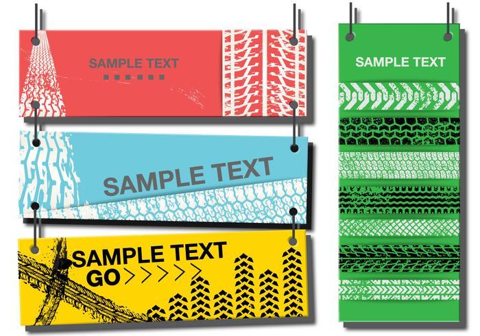 Vektor illustration av däckspår banderoller