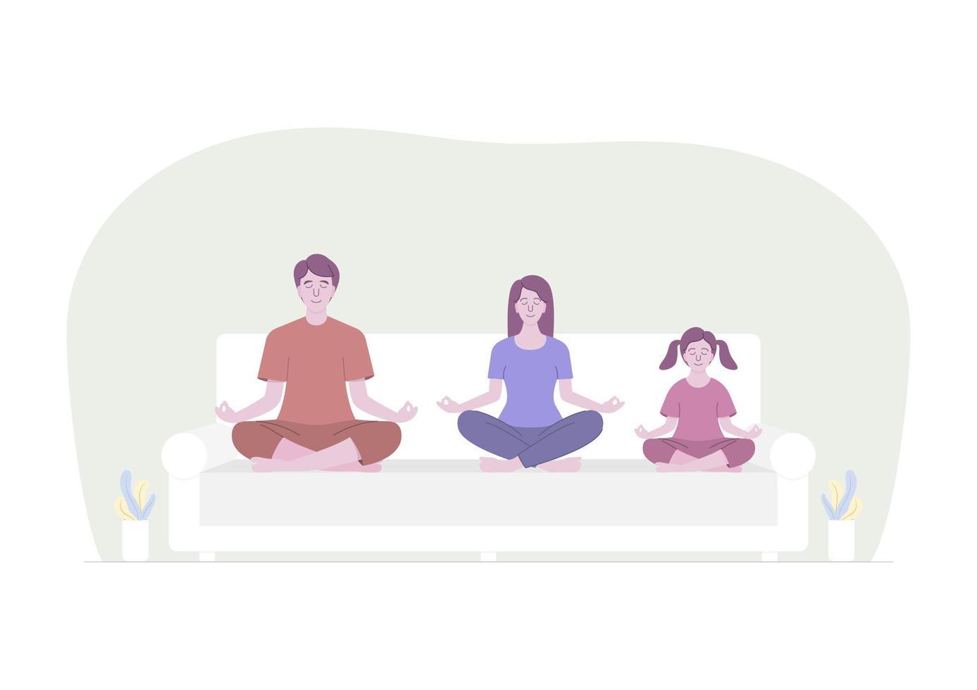 Familie meditiert auf weißem Sofa vektor