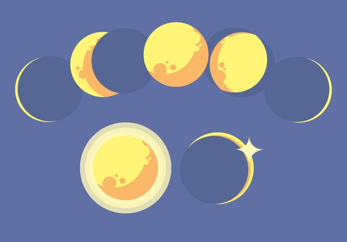 Mondphasen-Vektor-Set vektor