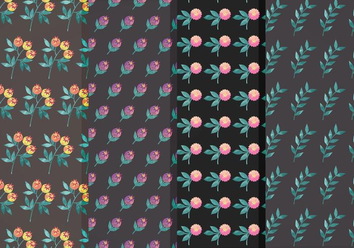 Moody Blume Vektor Muster Set