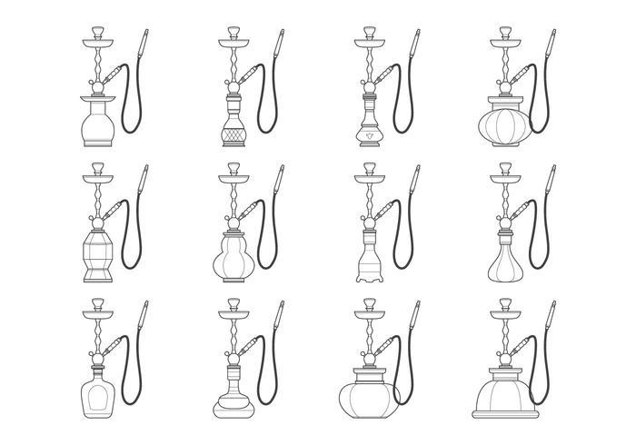 Nargile och hookah flaska samling vektor
