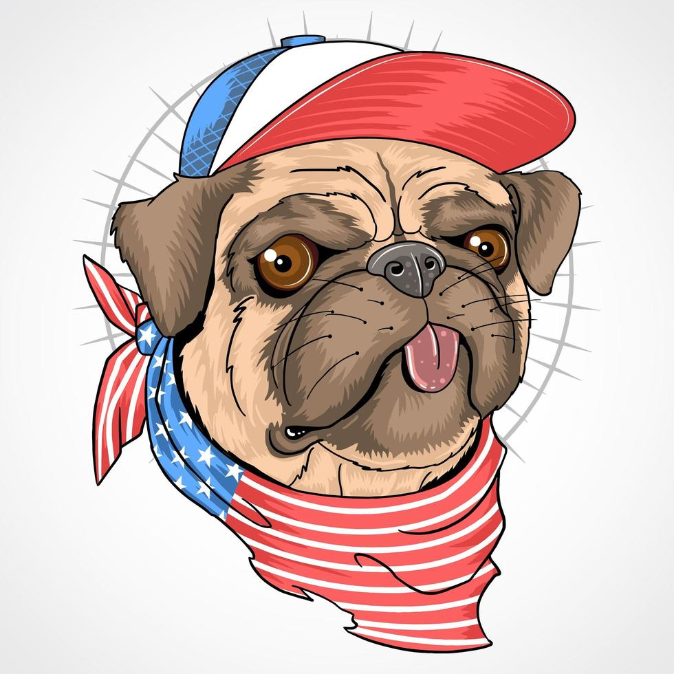 mops hund med amerikanska flaggan bandana och hatt vektor