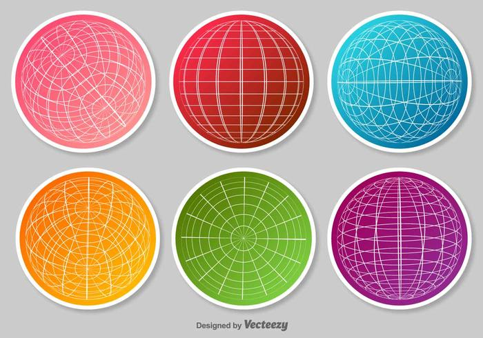 Set av Globe Grid Vector Stickers
