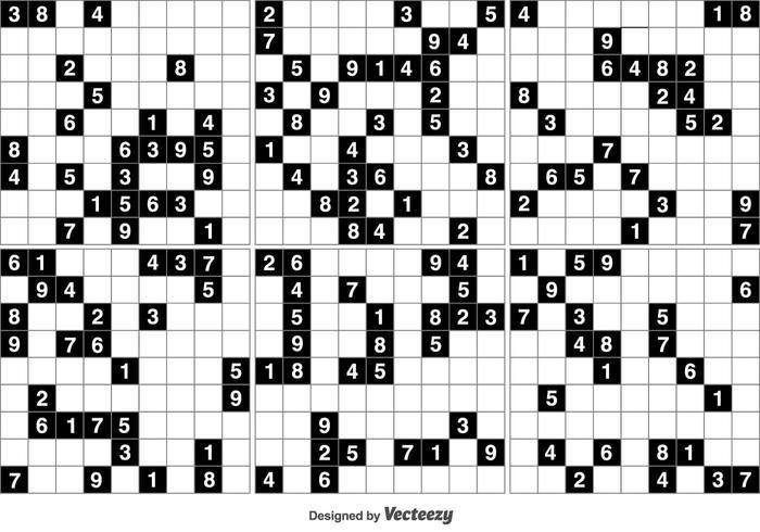 Vector Black Sudoku Puzzle Spiel
