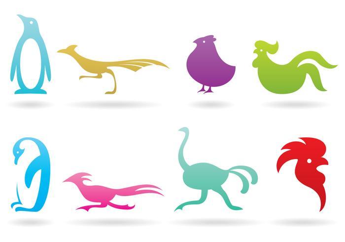 Flyglösa fågellogotyper vektor