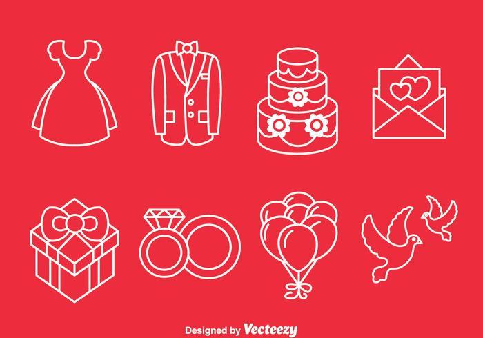 Bröllopslinje ikoner vektor