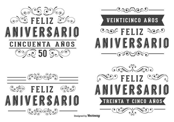 Jubileumsetiketter på spanskt språk vektor