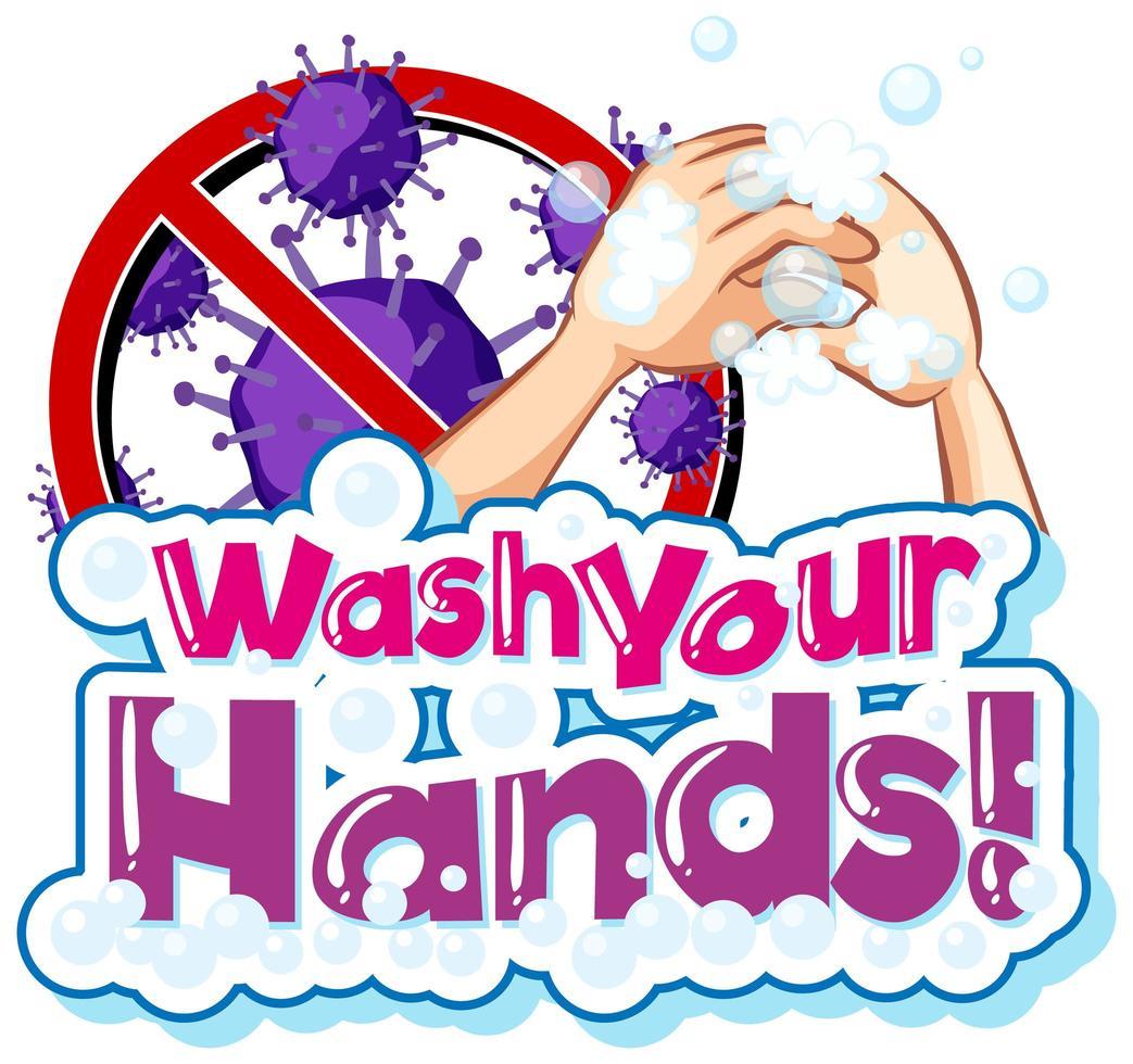 coronavirus design med tvätta händerna tema vektor