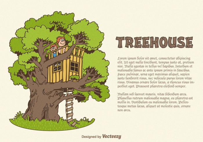Vektordragen treehouse vektor