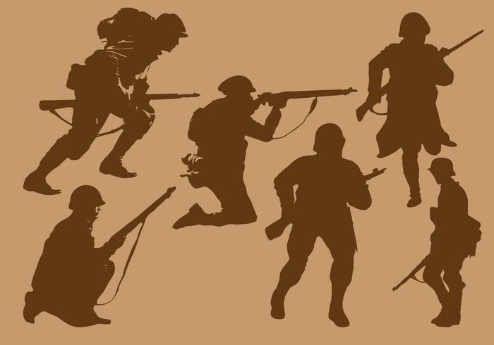 Världskrig 2 Soldat Siluettvektorer vektor