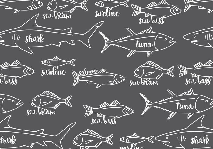 Fiskar med namnmönster vektor