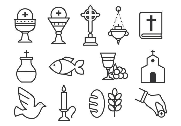 Freie Sakramente Icon Set vektor