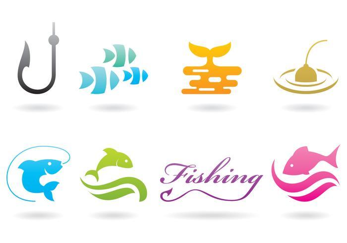 Gädda fiske logotyper vektor
