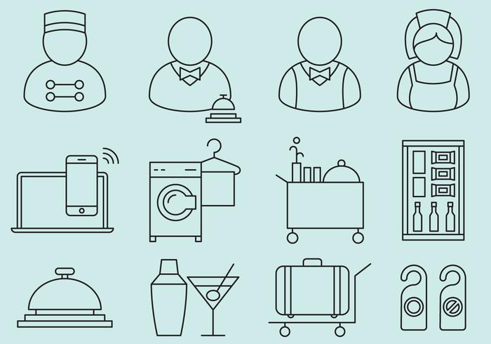 Hotel Personal und Service Icons vektor
