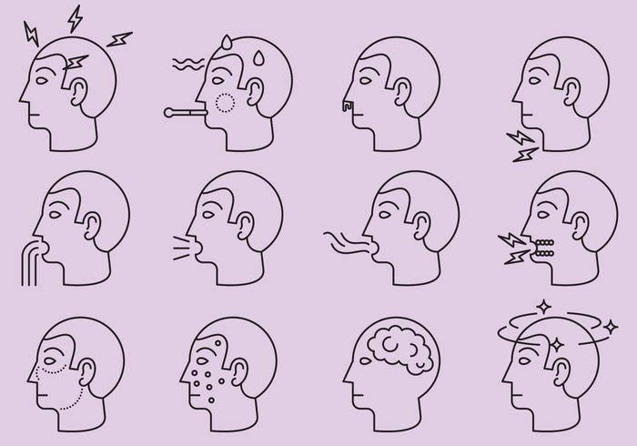 Krankheiten und Affliction Icons vektor