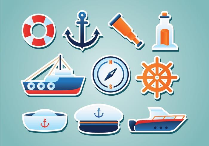 Gratis nautiska klistermärken vektor