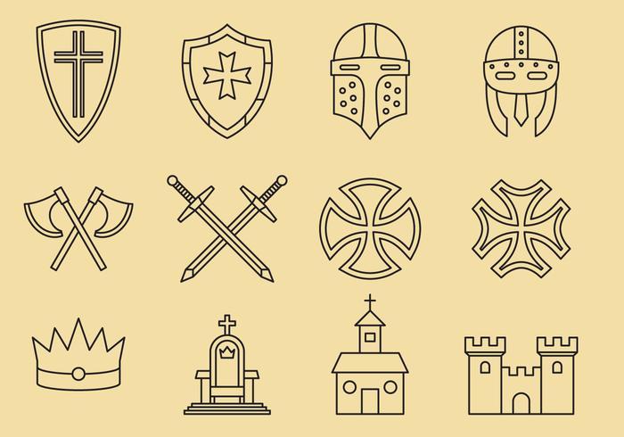 Templer und mittelalterliche Ikonen vektor