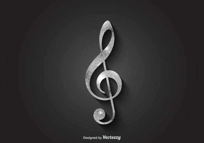 Free silver vector violin key
