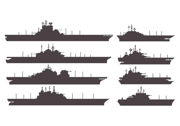 Kostenlose Silhouetten Flugzeugträger Vektor