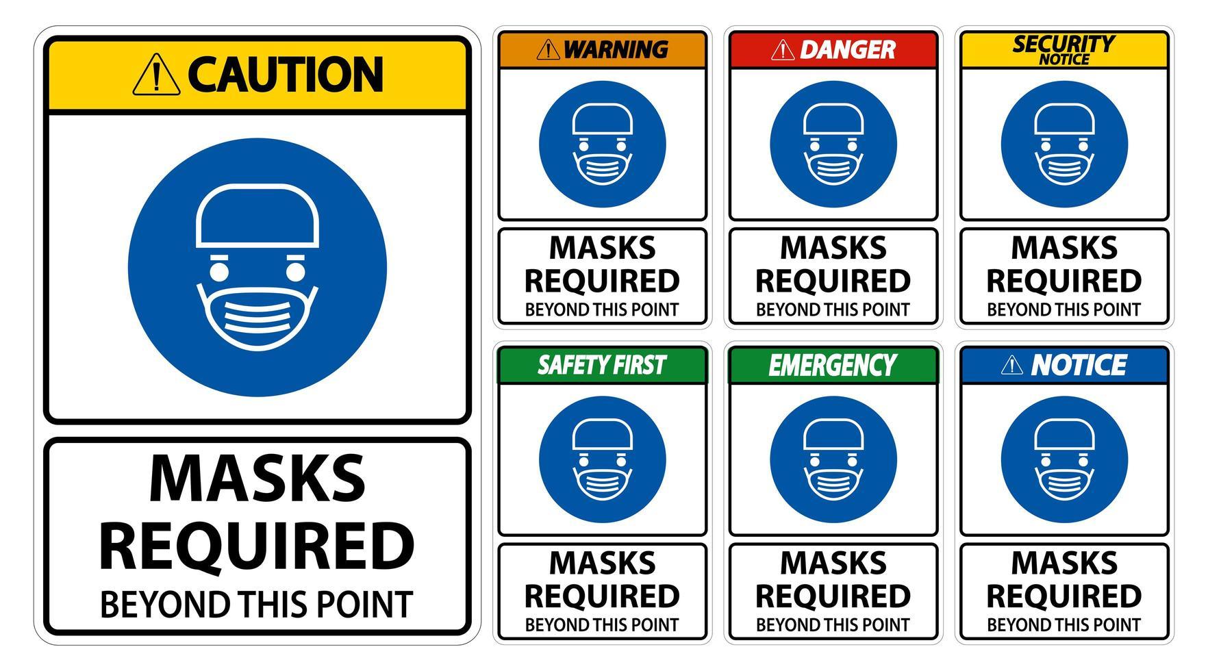 varningstecken för att ansiktsmasker krävs vektor