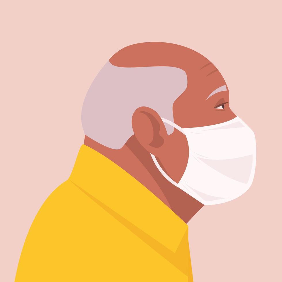 äldre man bär engångs medicinsk ansiktsmask vektor
