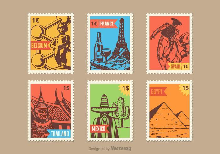 Land Vektor Briefmarken