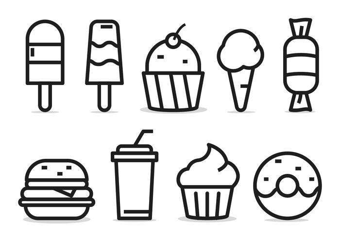 Mat ikonuppsättning vektor