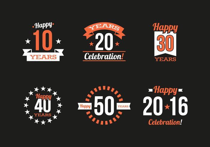 Jahrestags-Weinlese-Logos-Vektor vektor