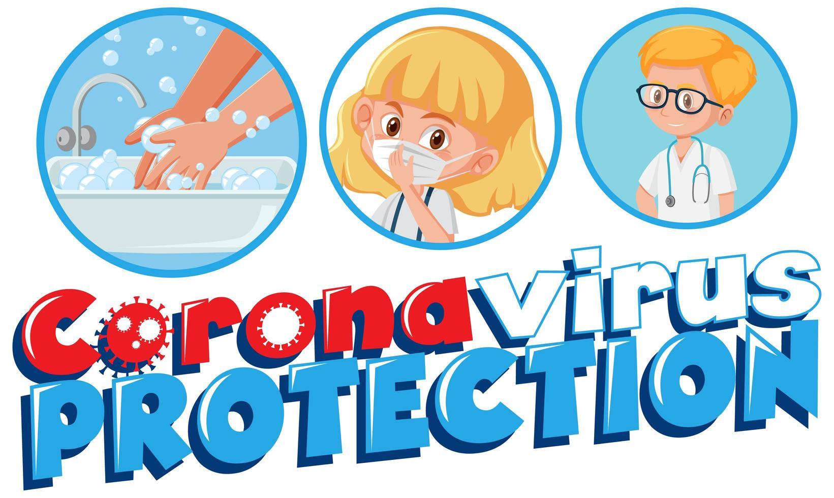 Coronavirus-Poster mit Coronavirus-Schutz vektor