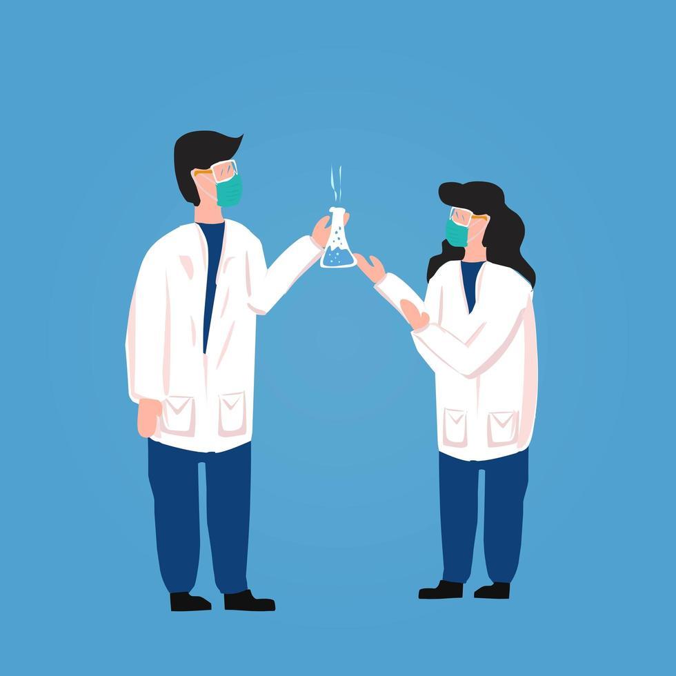 Wissenschaftler im chemischen Labor, die einen Impfstoff erforschen vektor