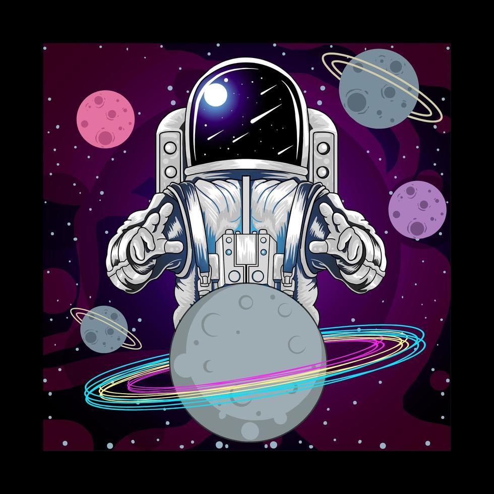 astronaut och planet i rymden vektor