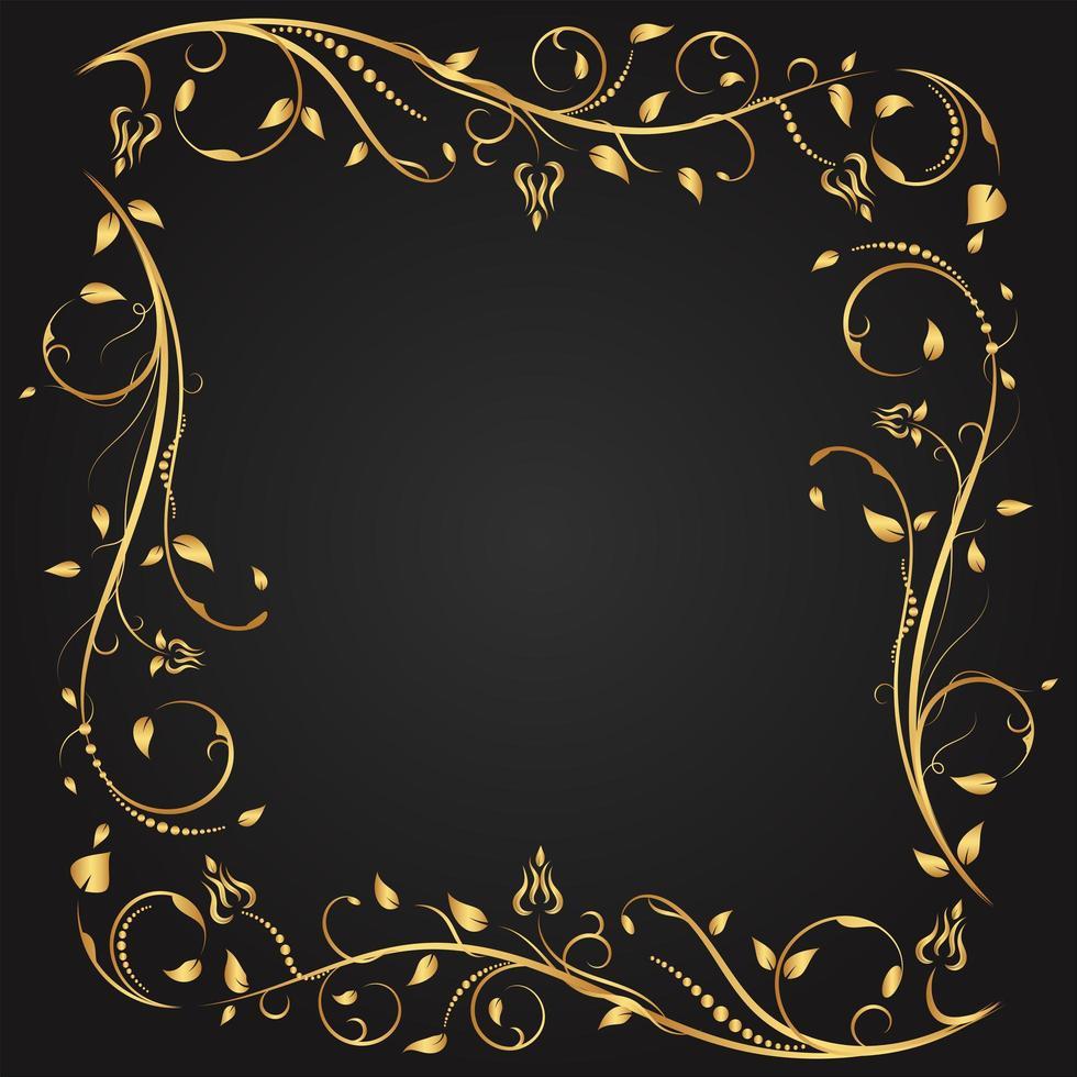 guld blommig blomstra kvadratisk ram vektor