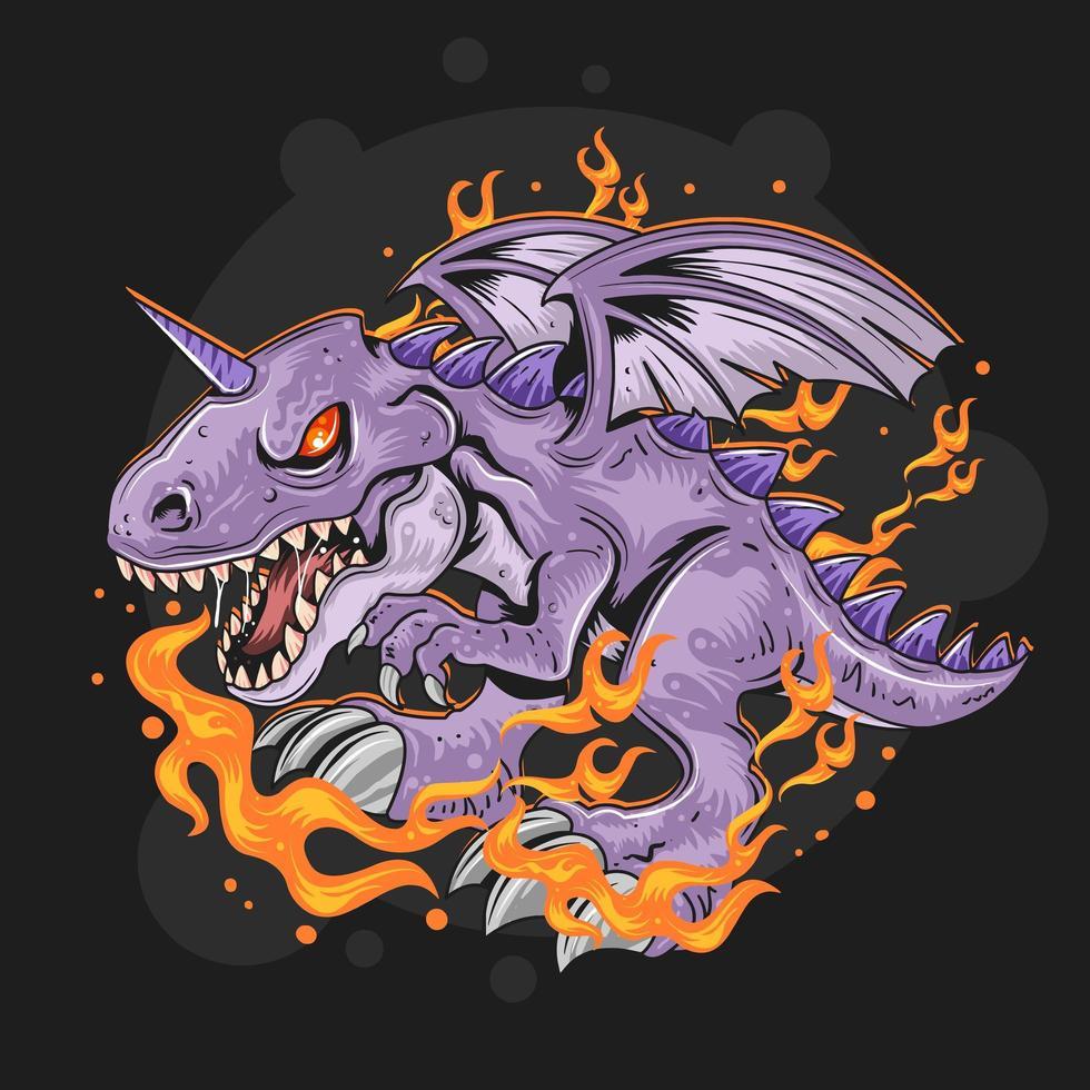 lila Drache mit Flammen vektor
